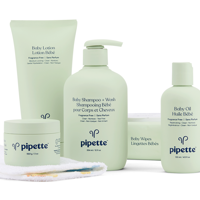 Pipette Baby Essentials Kit with Plant-Derived Squalane, includes Baby Lotion, Shampoo & Wash, Oil, Balm, Wipes, 5-piece set