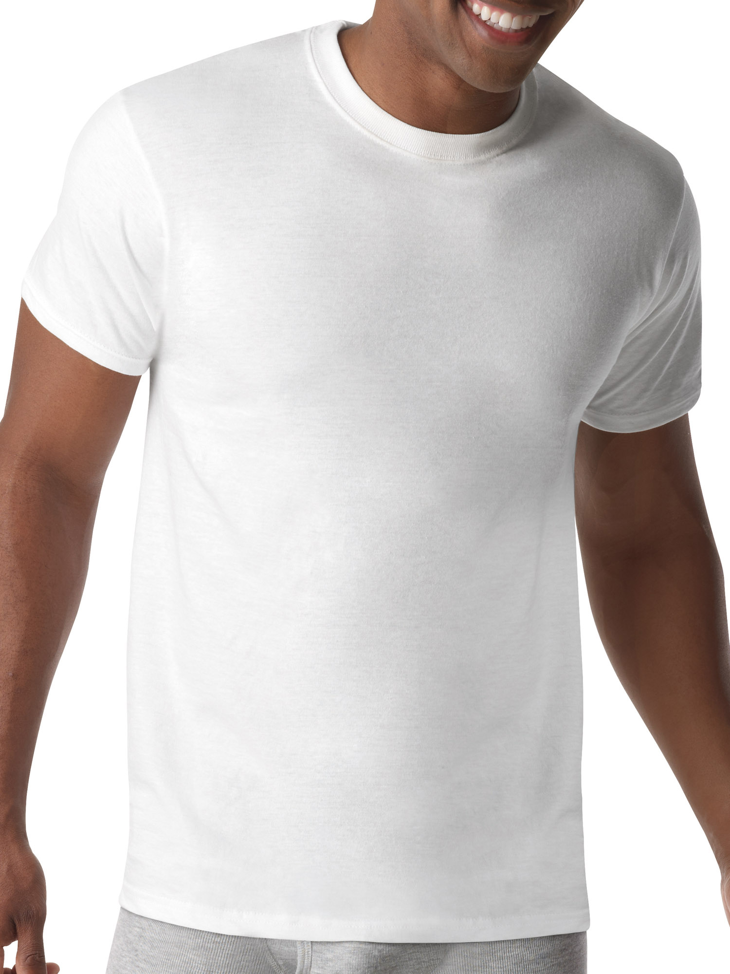 Mens ComfortBlend Tagless White Crew T-Shirts, 5 Pack