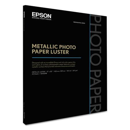 Epson Professional Media Metallic Photo Paper Luster, White, 17 x 22, 25 Sheets/Pack -EPSS045598