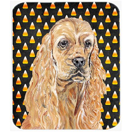 Caroline's Treasures Halloween Candy Corn Cocker Spaniel Glass Cutting Board