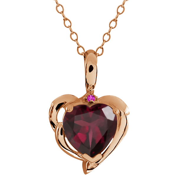 2.02 Ct Heart Shape Red Rhodolite Garnet Pink Sapphire 14K Rose Gold Pendant by
