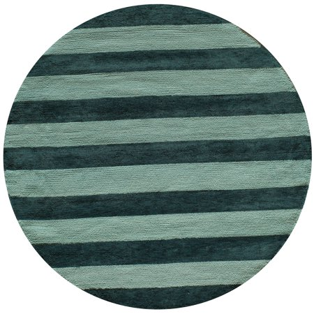 36 Round Hooked Rug - Momeni Lil Mo Classic Cabana Stripe Cotton Hand Hooked Blue Area Rug 5' X 5' Round