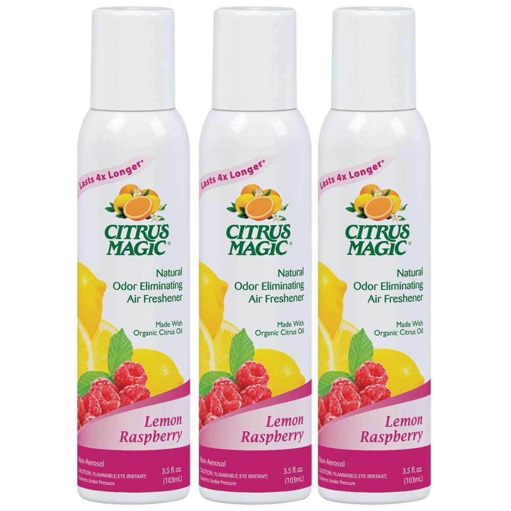 Citrus Magic Natural Odor Eliminating Air Freshener Spray Lemon Raspberry, Pack of 3, 3.0-Ounces Each