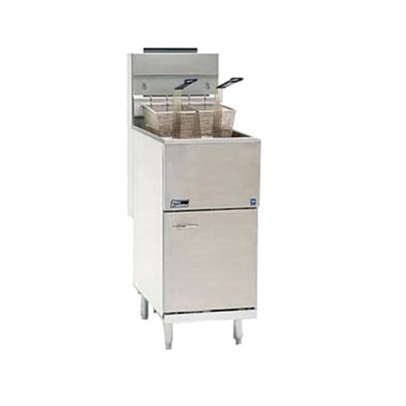 Pitco 45C S Natural Gas Stainless Steel Floor Fryer With 42 50 Lb  Oil Capacity   122 000 Btu