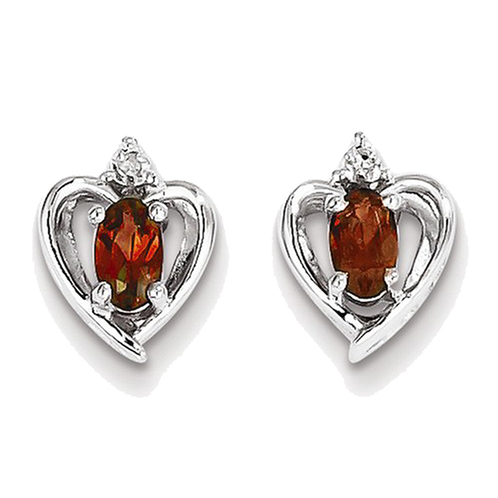 925 Sterling Silver Oval Garnet and Diamond Open Hearts Drop Earrings