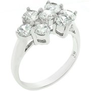 Sunrise Wholesale J3256 07 White Gold Rhodium Bonded CZ Cluster Ring