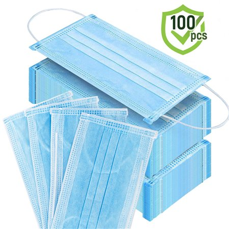 100PCS Anti-Pollution 3 Laye Mask dust protection Masks Disposable Face Masks Elastic Ear Loop Disposable Dust Filter Safety covid 19 (masks for germ protection coronavirus)