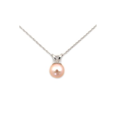 7mm 8mm Cultured Pearl Necklace (14k Yellow or White Gold AAA 8mm Pink Freshwater Cultured Pearl Solitaire Pendant Necklace)