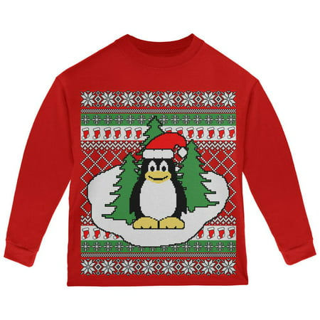 Penguin on Ice Ugly Christmas Sweater Toddler Long Sleeve T Shirt - Penguin Christmas Sweater