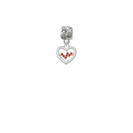 Heart with Red Crystal Heartbeat - Paw Print Charm Bead