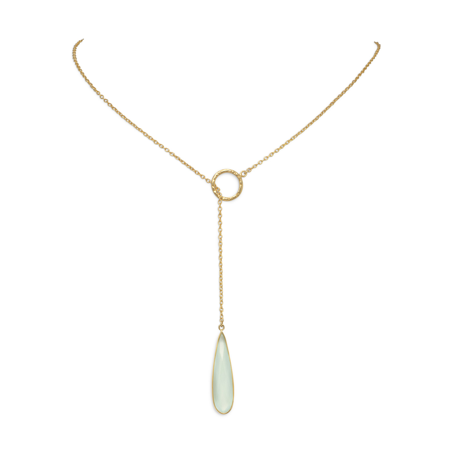24 Inch Gold-Flashed Sterling Silver Lariat Style Necklace Faceted Chalcedony Drop by