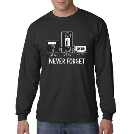 Trendy USA 467 - Unisex Long-Sleeve T-Shirt Floppy Disk VHS Tape Cassette Player Never Forget Large Black