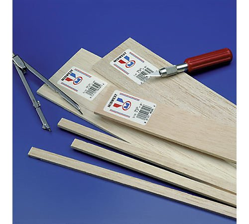 Balsa Sheets 1/4 x 2 x 36 (10), Midwest's Balsa is recommended uses: airplanes, boats, crafts, model railroad, and miniatures. Balsa cuts easily with a hobby.., By Midwest Products Co.