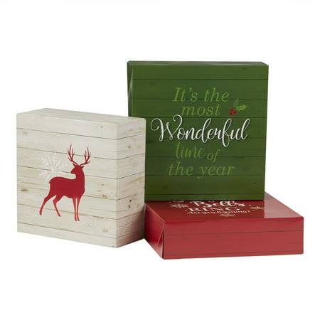 holiday time decorative christmas gift box set christmas theme assorted sizes 3 count