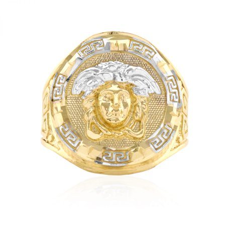 10k Solid Yellow Gold Diamond Cut Versace Style Medusa Head Round Men's Signet Ring