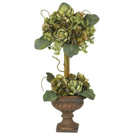 (Nearly Natural Artichoke Topiary Silk Flower Arrangement)