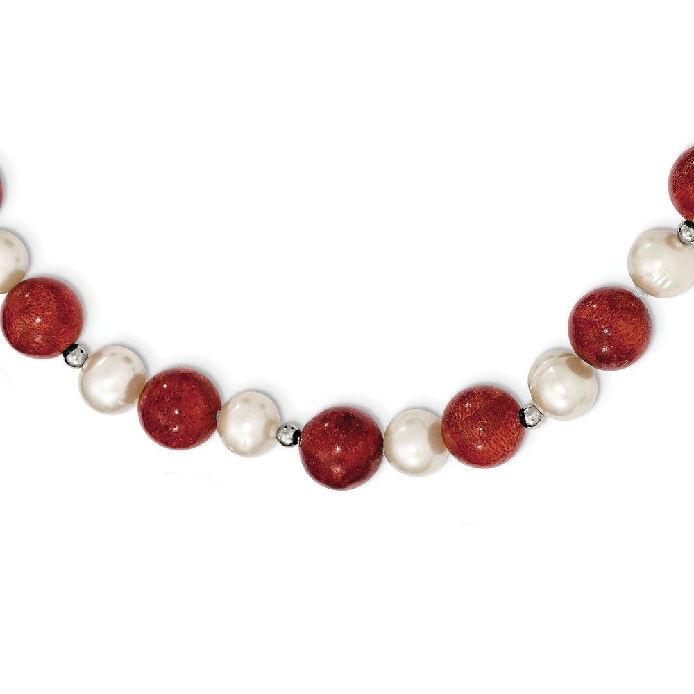 "925 Sterling Silver Fw Cultured Pearl and Stabilized Red Coral Necklace -18"" (18in x 10mm) by"