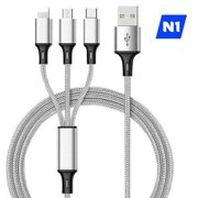 Universal Fast Charging USB Cable 3 in 1 Multi Function for Apple iPhone , Type C and Micro