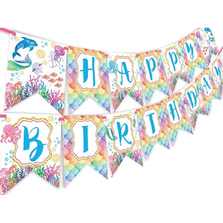 Mermaid Under the Sea Watercolor Happy Birthday Banner - Pool Party Pennant - Pool Party Decorations - Mermaid Decorations - Watercolor