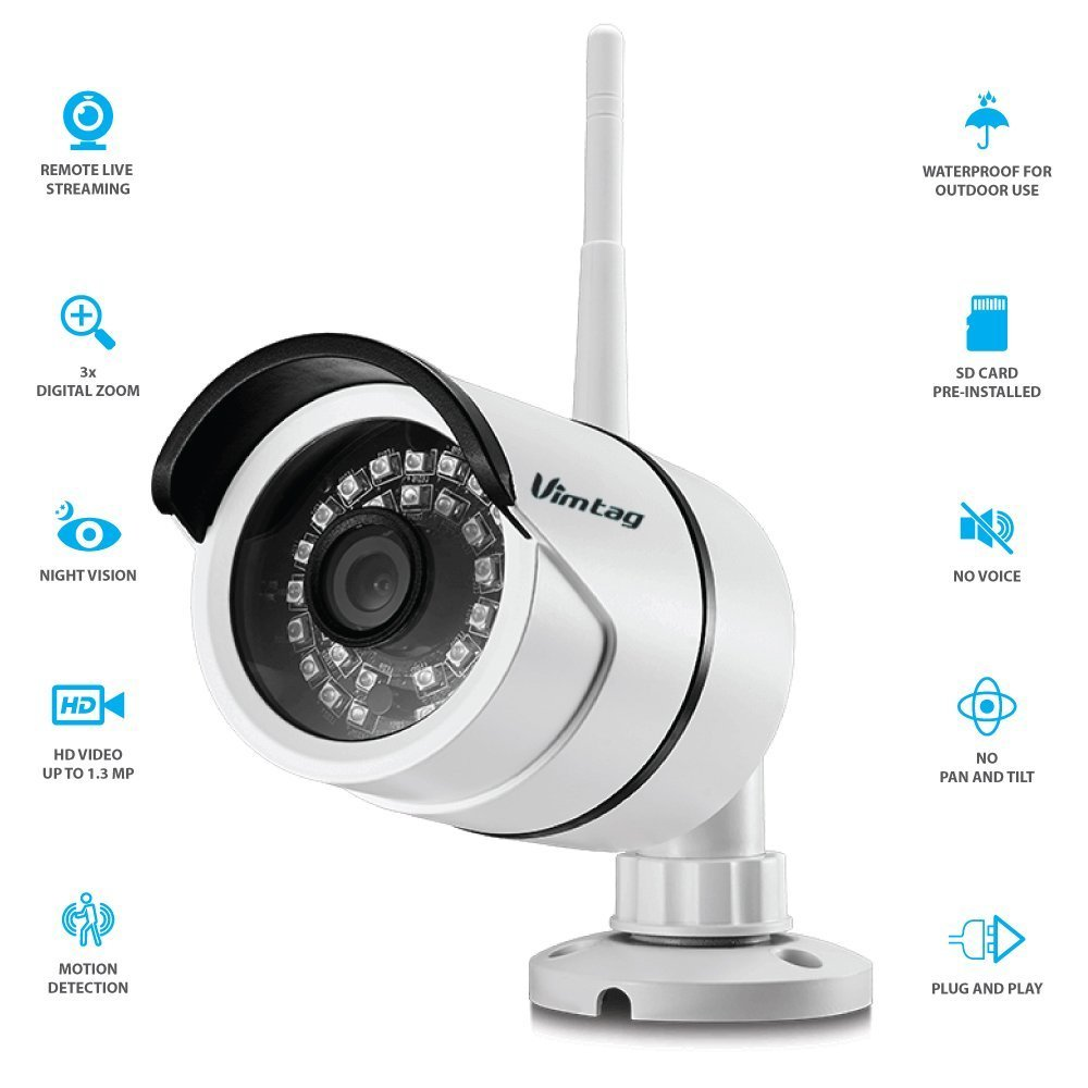 Vimtag B1 Outdoor All-Weather Camera | WiFi Video Monitoring Surveillance Security Camera, Wide Viewing angle, Plug/Play, & Night Vision (32 GB SD Card Pre Installed)