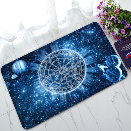 PHFZK Blue Galaxy Doormat, Space Zodiac Wheel and Planets Doormat Outdoors/Indoor Doormat Home Floor Mats Rugs Size 30x18 (Space Matt)
