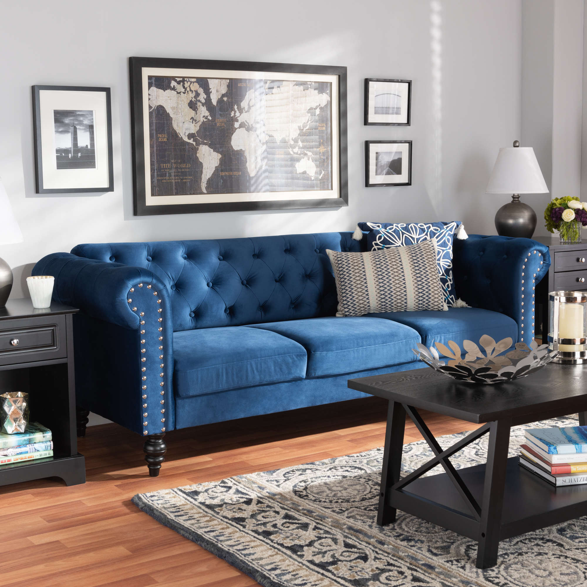 Baxton Studio Emma Traditional And Transitional Navy Blue Velvet Fabric Upholstered And Button Tufted Chesterfield Sofa Walmart Com Walmart Com