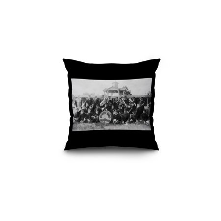 Parkman, Ohio - View of the Buckeye Marching Band (16x16 Spun Polyester Pillow, Black (Osu Buckeyes Pillow)
