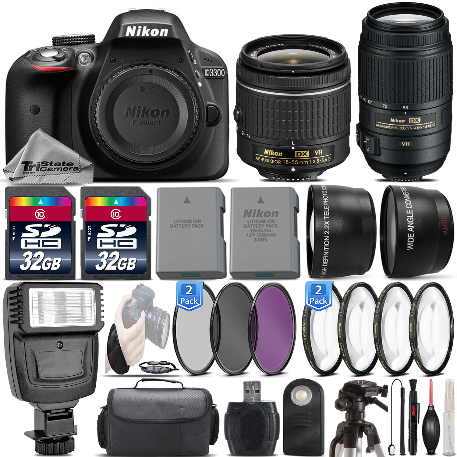 Nikon D3300 24.2MP DSLR Camera + 18-55mm VR Lens + 55-300mm VR - 64GB Kit Bundle