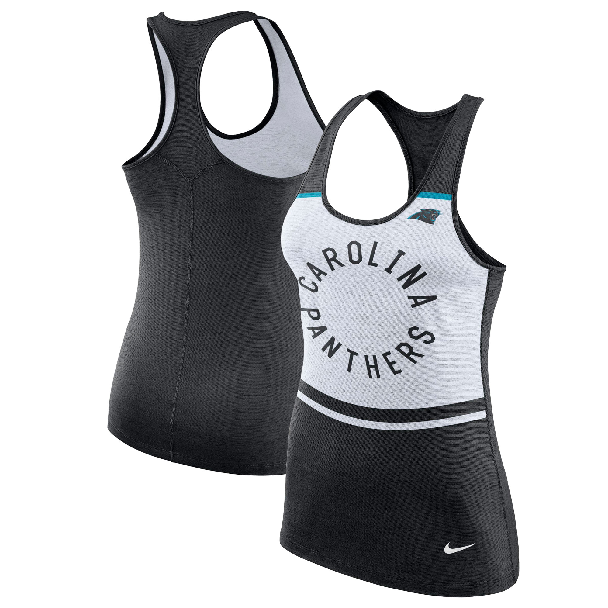 Carolina Panthers Nike Women's Circle Racerback Performance Tank Top - White