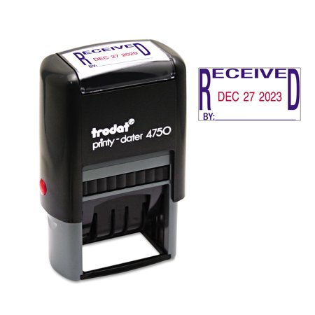 Trodat Economy Stamp, Dater, Self-Inking, 1 5/8 x 1, Blue/Red -USSE4752