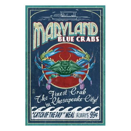 Chesapeake City, Maryland - Blue Crab Print Wall Art By Lantern Press ()