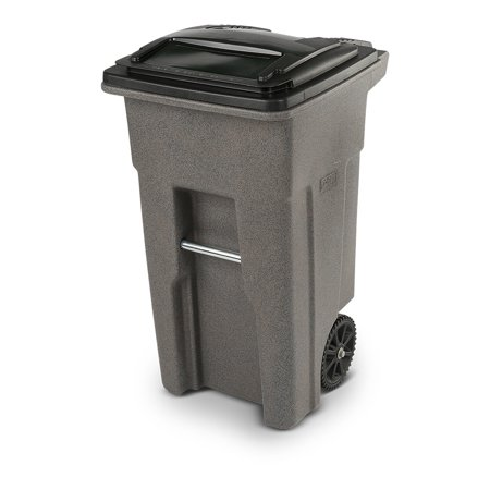 Toter 32 Gallon Trash Can Graystone with Wheels and