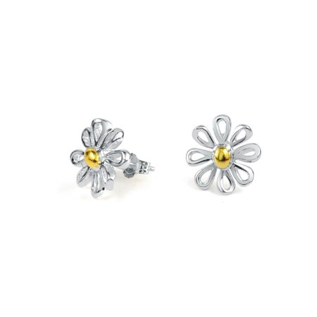 Simple Tiny Flower Daisy Stud Earrings For Teen For Women Two Tone 14K Gold Plated 925 Sterling Silver