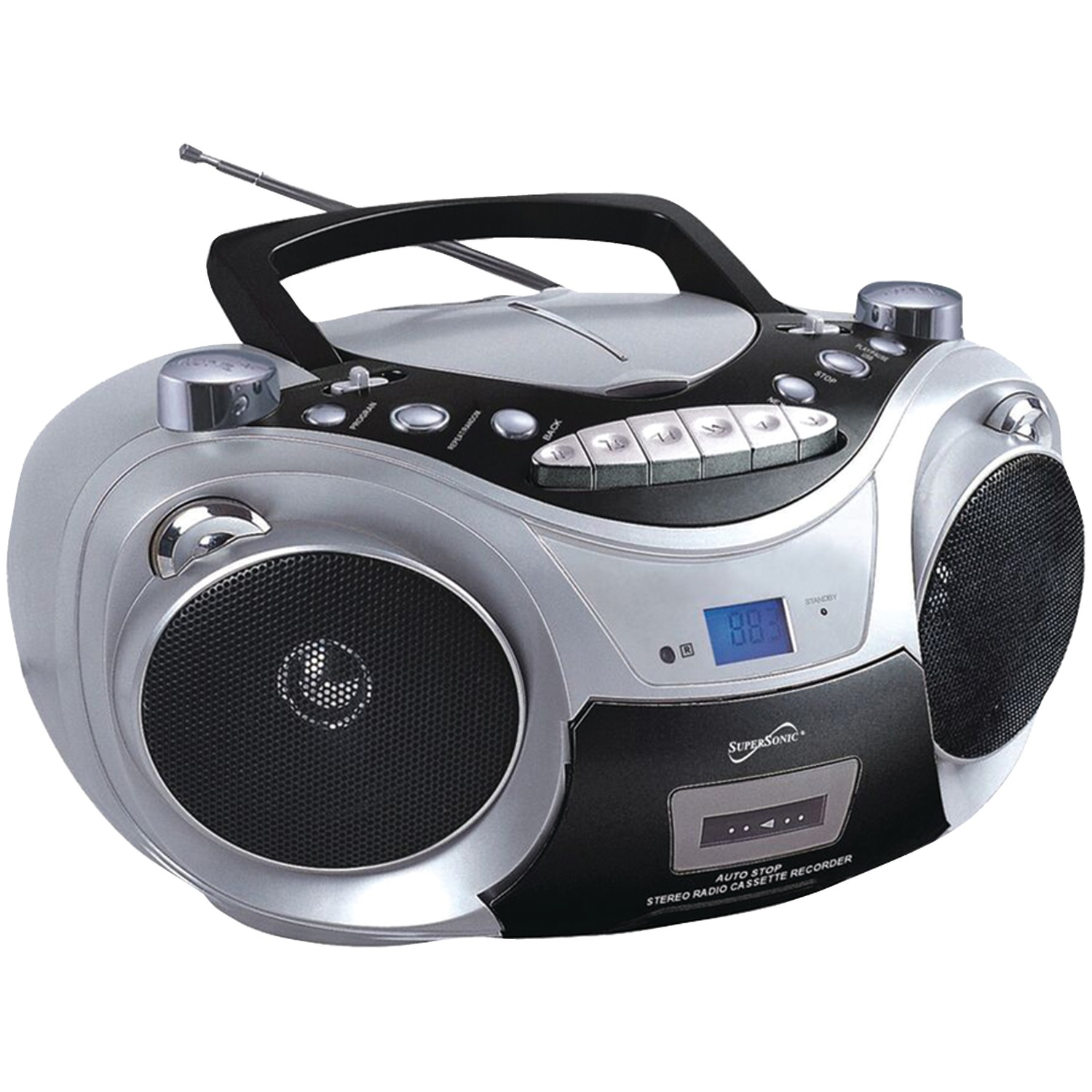 supersonic sc 709 silver portable mp3 cd player with cassette recorder am fm radio silver. Black Bedroom Furniture Sets. Home Design Ideas