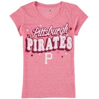 Pittsburgh Pirates 5th & Ocean by New Era Girls Youth Stars Tri-Blend V-Neck T-Shirt - Pink