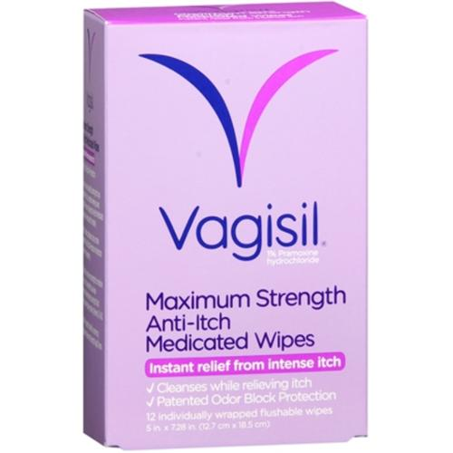 Vagisil Anti-Itch Medicated Wipes 12 Each (Pack of 4)