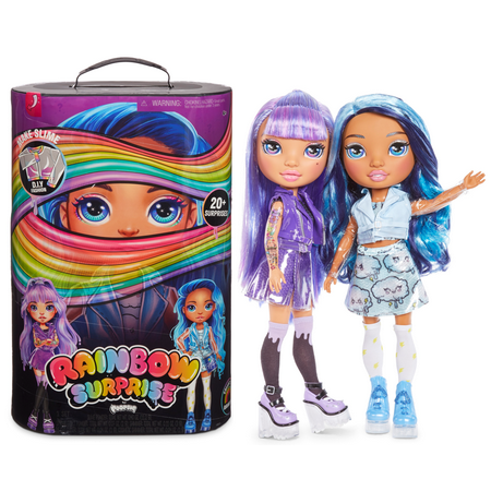 "Rainbow Surprise by Poopsie: 14"" Doll with 20+ Slime & Fashion Surprises, Amethyst Rae or Blue Skye"