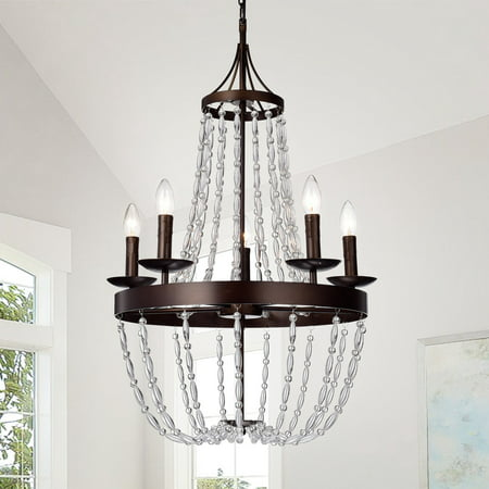 Ruesen 5-Light 22-Inch Antique Bronze Crystal Chandelier - Ruesen 5-Light 22-Inch Antique Bronze Crystal Chandelier - Walmart.com