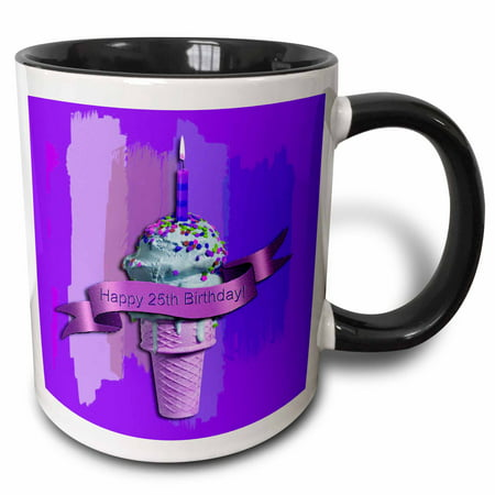3dRose Happy 25th Birthday, Ice Cream Cone on Abstract, Purple - Two Tone Black Mug, 11-ounce - Ice Cream Cone Die Cuts