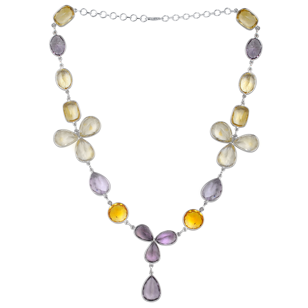 Orchid Jewelry 136 Carat Amethyst and Citrine Sterling Silver Gemstone Necklace by Orchid Jewelry Mfg Inc
