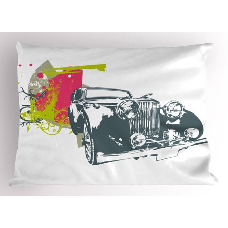 Vintage Pillow Sham Pop Art Retro Custom Classic Car with Grunge Effects Illustration, Decorative Standard Queen Size Printed Pillowcase, 30 X 20 Inches, Pink Lime Green Slate Blue, by Ambesonne ()