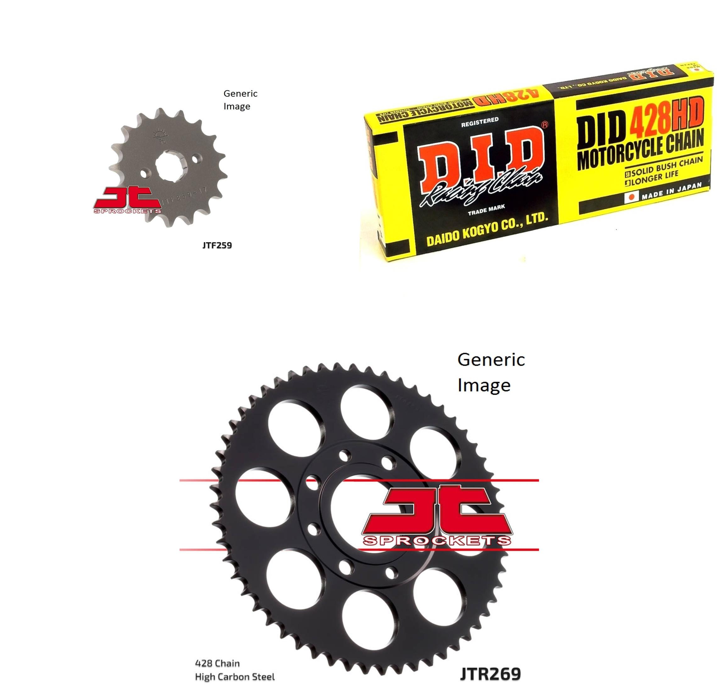 DID Heavy-Duty Chain 428HD Natural, JT Front & Rear Sprocket Kit for Street HONDA CB125S 1984-1985