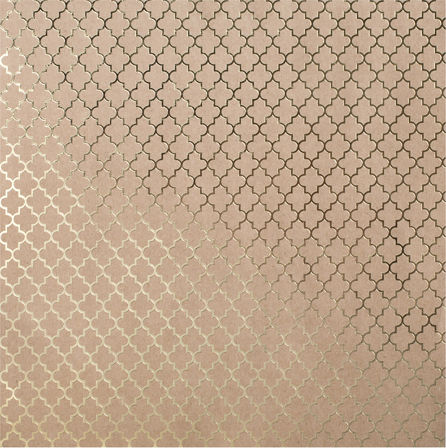 Bazzill Foiled Kraft Cardstock 12 Inch X 12 Inch-Gold Lattice