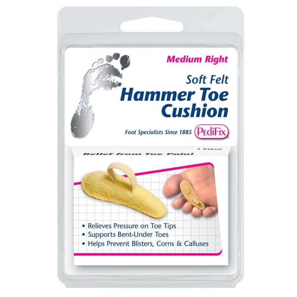Pedifix Soft Felt Hammer Toe Cushion - Beige, Large Right []