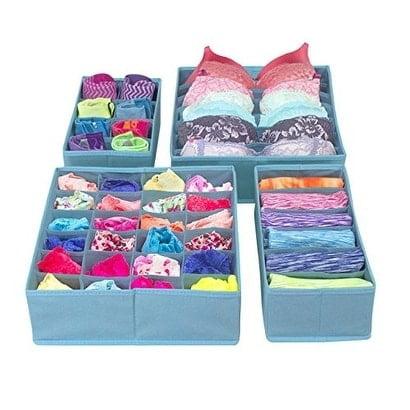 Sorbus Set of 4 Foldable Drawer Dividers, Storage Boxes, Closet Organizers, Under Bed Organizer - Aqua Storage
