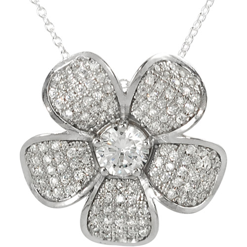 Brinley Co. Cubic Zirconia Flower Pendant in Sterling Silver, 18""