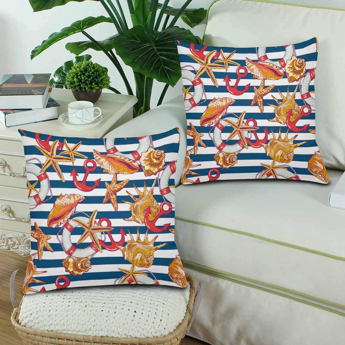 GCKG Summer Sea Shell Anchor Lifeline Blue Striped Pillowcase Throw Pillow Covers 18x18 inches Set of 2 - image 2 of 3