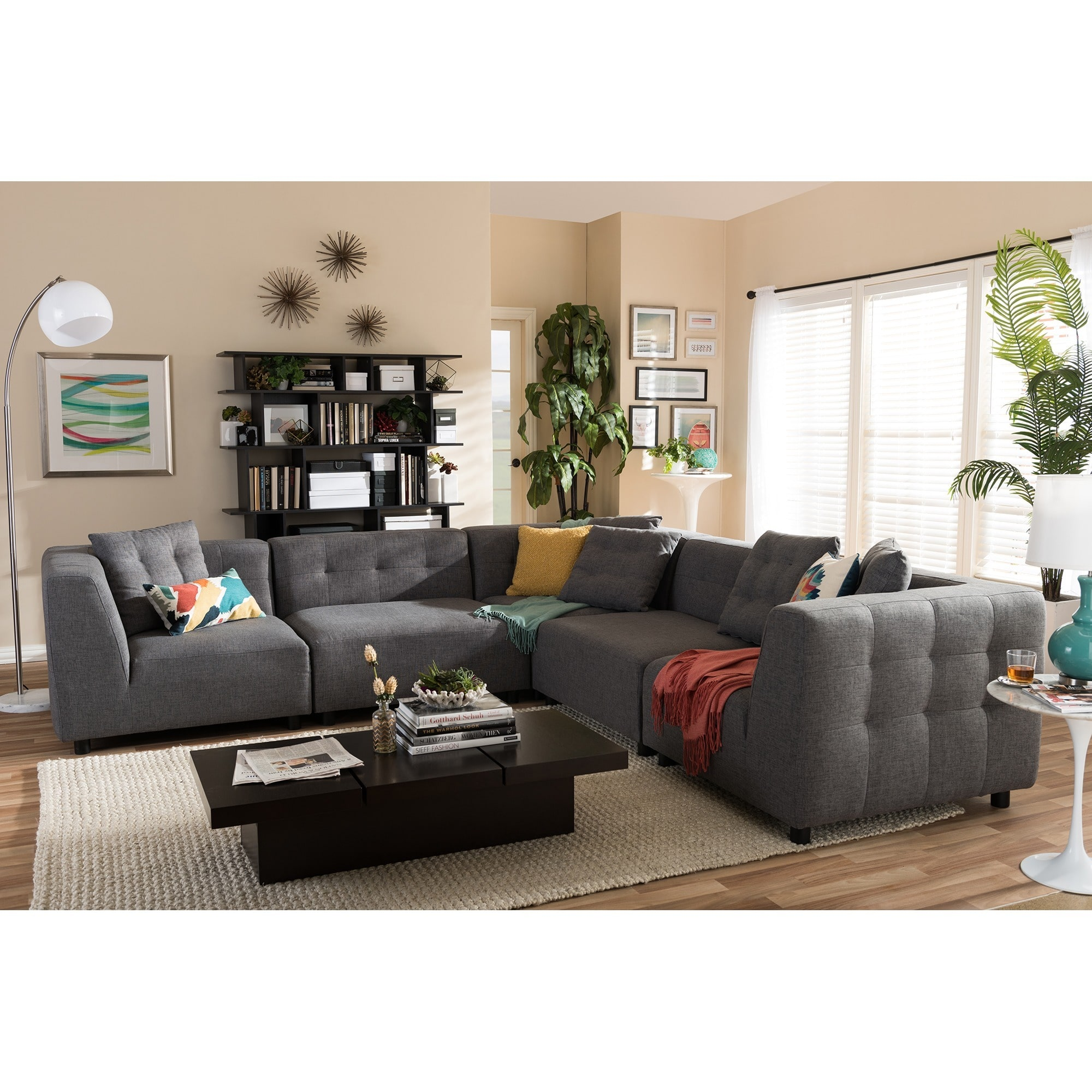 Baxton Studio Alcoa Gray Twill Sectional Sofa Walmart