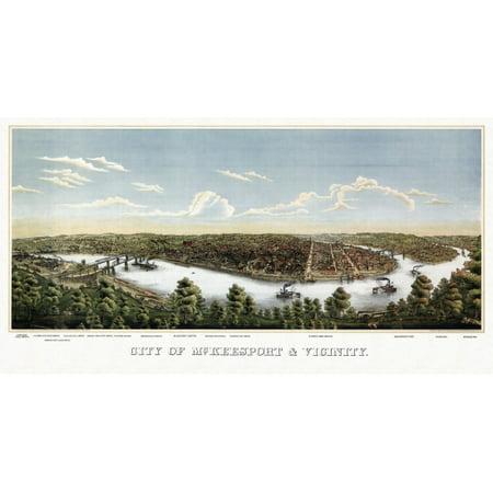 Vintage Map Of Mckeesport Pennsylvania 1893 Allegheny County Canvas Art     18 X 24