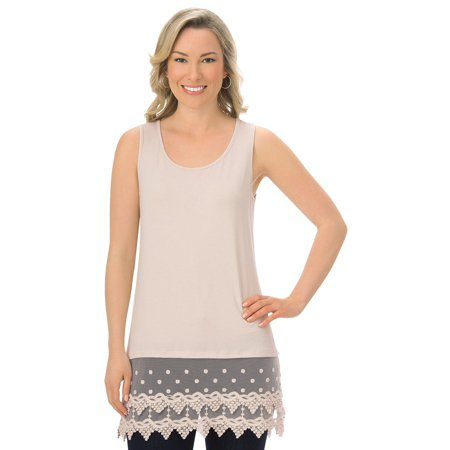 Women's Lace Trim Scoop Neck Tunic Tank Top, Rayon/Spandex - Great for Layering, Xx-Large, Nude Classic Lace Trimmed Set